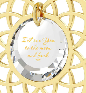 "Good Presents for Girlfriend,""I Love You to The Moon and Back"", 24k Imprint, Pure Romance Products, Nano Jewelry"