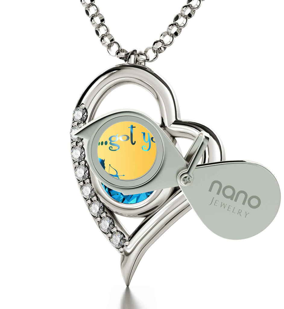 """Good Presents for Girlfriend,Heart Frame Sterling Silver Engraved Necklace, Women's Gifts for Christmas, by Nano Jewelry"""
