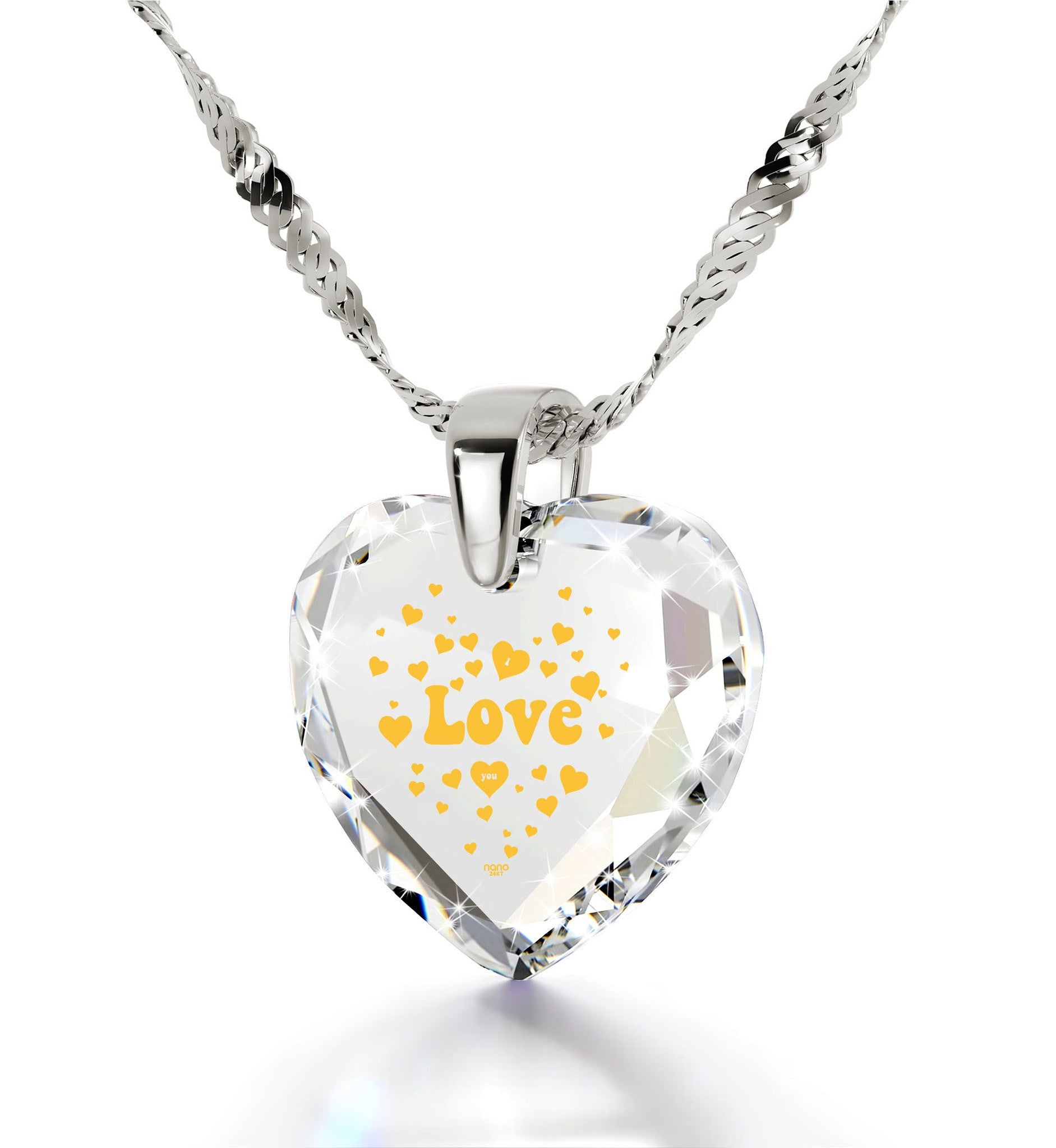 Good Presents for Girlfriend, I Love You Gifts for Her,CZ Jewelry, Womens Gold Necklace, Nano