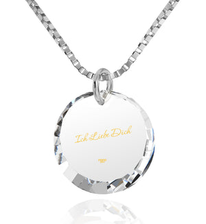"Good Presents for Girlfriend,""I Love You"" in German, CZ Jewelry, Best Womens Gifts, Nano"