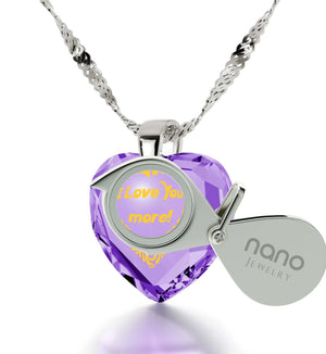 """Good Valentines Day Gifts for Girlfriend,Sterling Silver Jewelry, 24k Engraved Pendant, Heart Necklaces for Women, Nano """