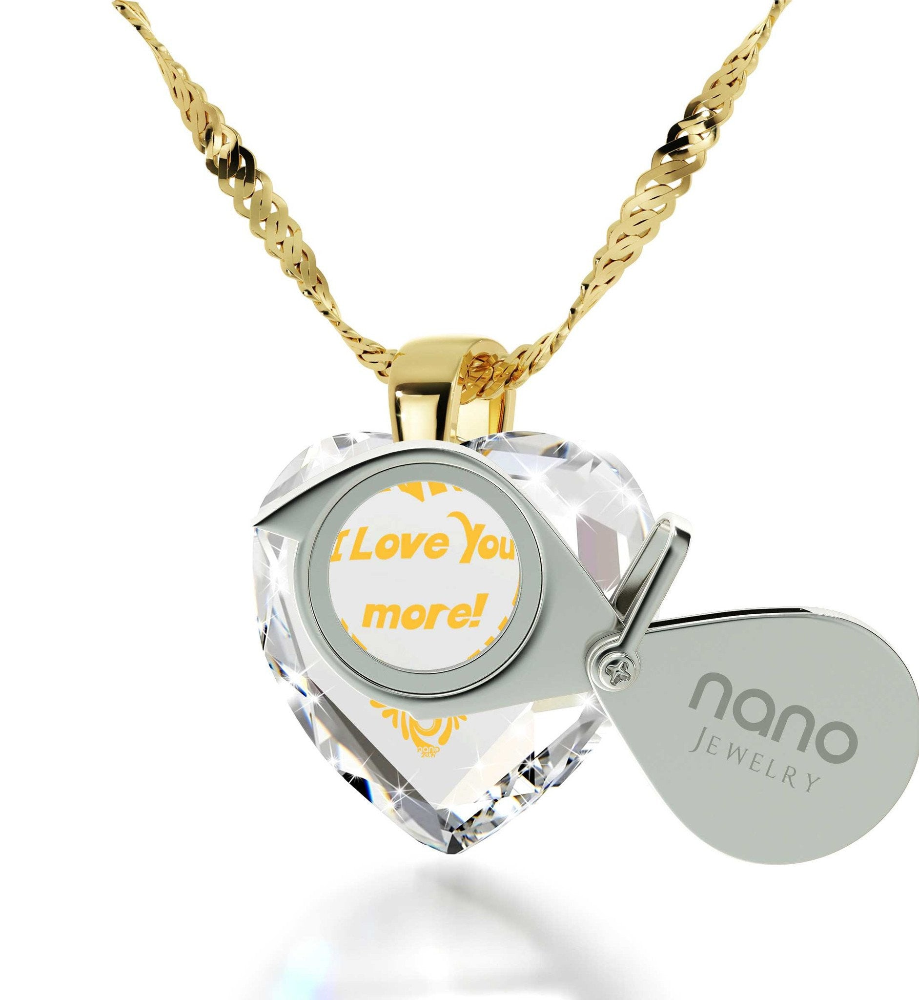 """Great Gifts for Wife, Heart Shaped Necklace, 24k Engraved Pendant, Cute Presents for Girlfriend, Nano Jewelry"""