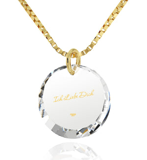 "Good Presents for Girlfriend,""Ich Liebe Dich"", 24k Engraved Pendant, Cool Gifts for Girls, Nano Jewelry"