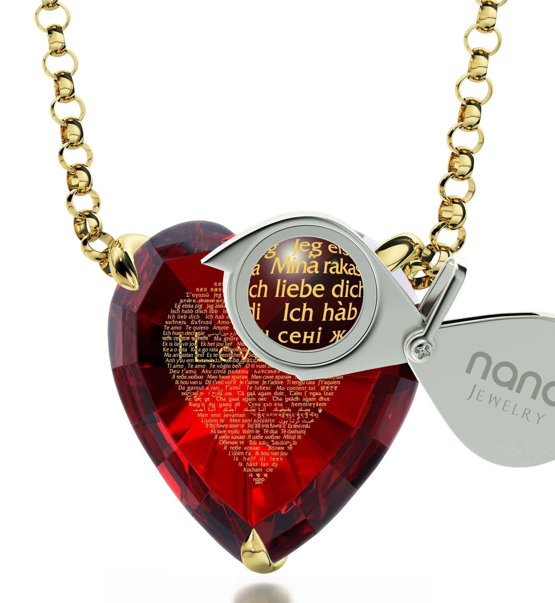 "What to Get Girlfriend for Birthday, ""I Love You"" in 120 Languages, CZ Red Heart, Good Anniversary Gifts for Her"