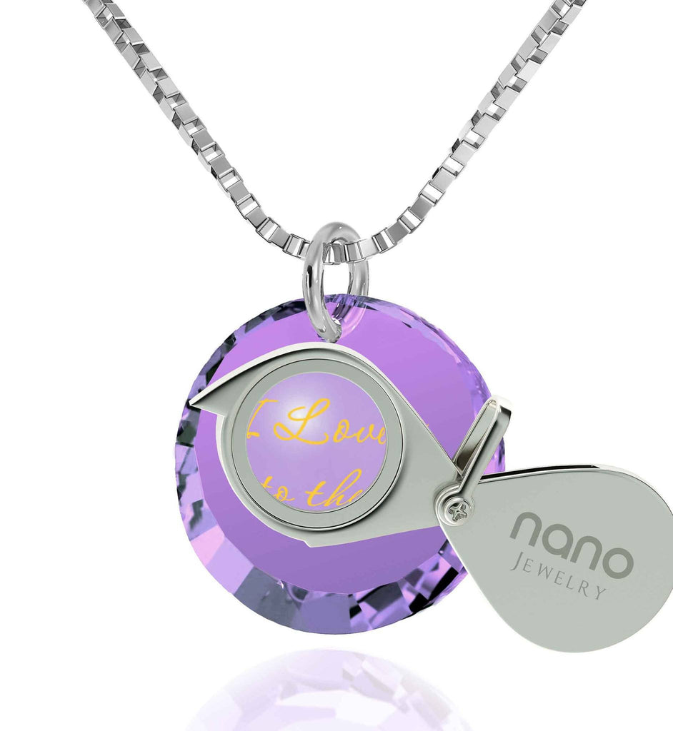 Necklaces for Your Girlfriend,Sterling Silver, 24k Imprint, I Love You to The Moon and Back Jewelry, Nano