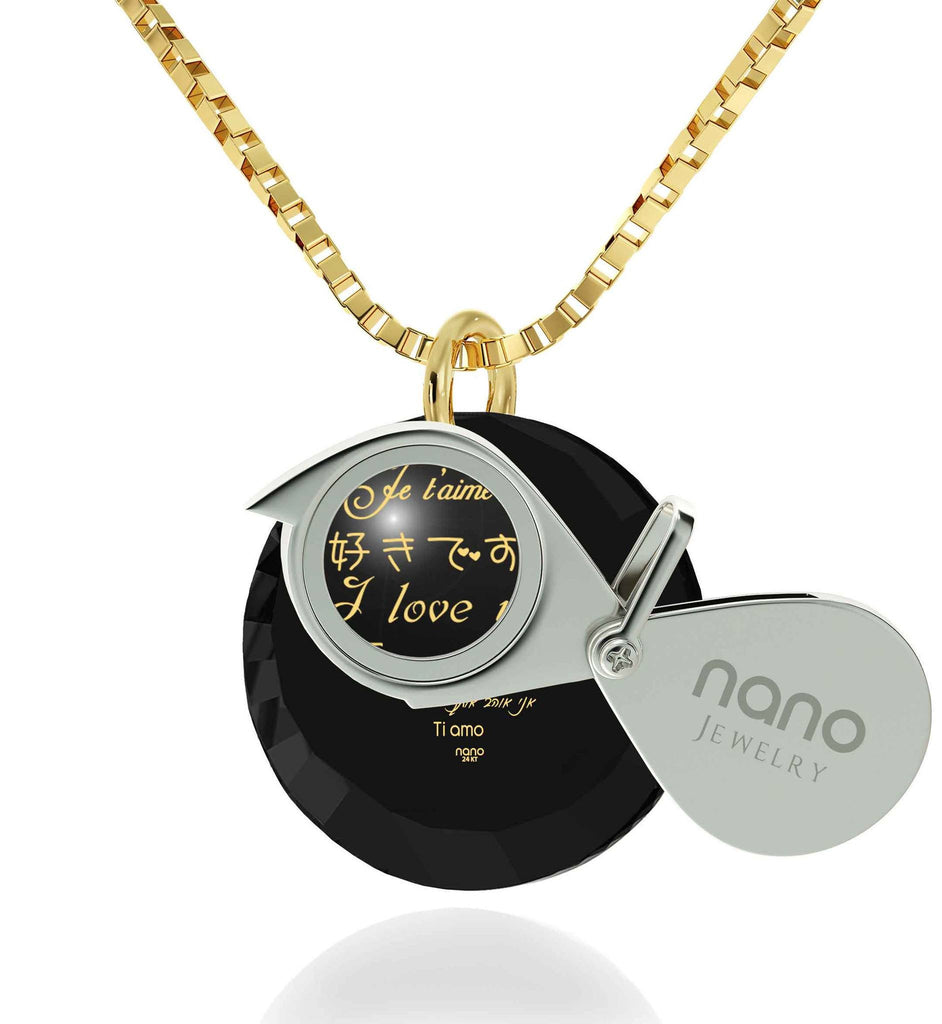 What to Get Girlfriend for Christmas, Real Gold Necklace, CZ Black Round Stone, Great Gifts for Wife by Nano Jewelry
