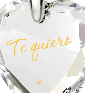 "Good Presents for Girlfriend,""Te Quiero"",CZ Jewelry, Ladies Birthday Gifts, Nano"