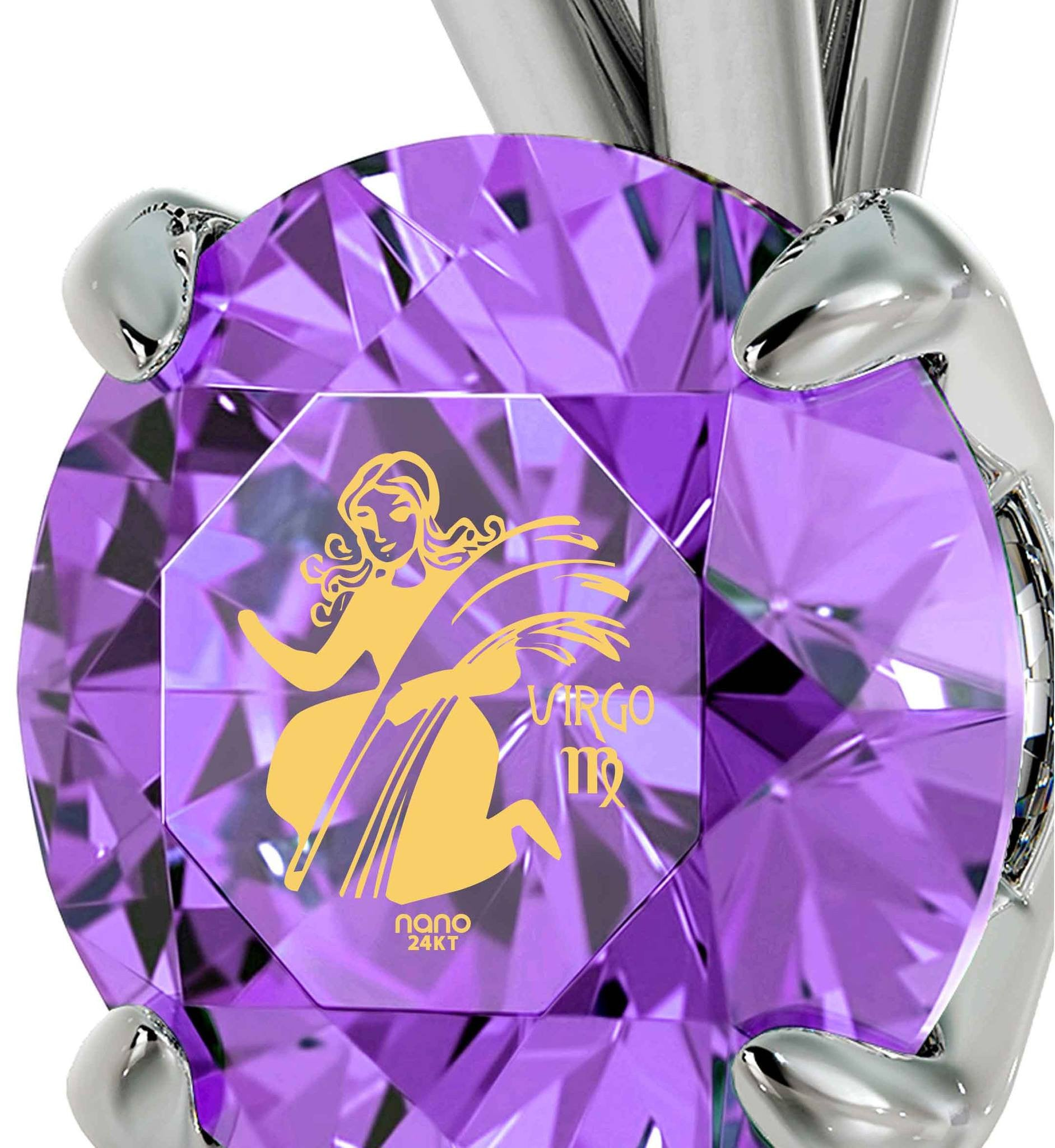 """What To Get Girlfriend  for Birthday, Virgo Sign Engraved on Purple Stone Jewelry, Christmas Gifts for Best Friend Female, by Nano"""