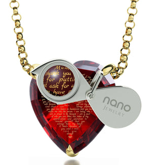 Good Presents for Mom, 14k Gold Necklace, CZ Red Heart, Special Mother's Day Gifts