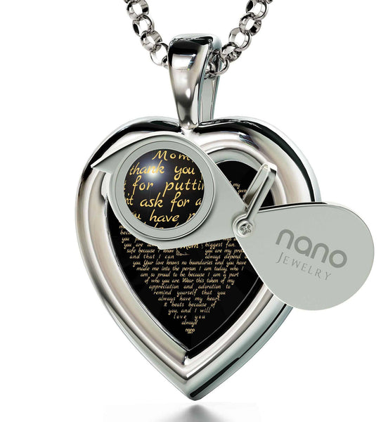 Good Presents for Mom, Meaningful Necklaces, CZ Black Heart, Mother Gift Ideas by Nano Jewelry