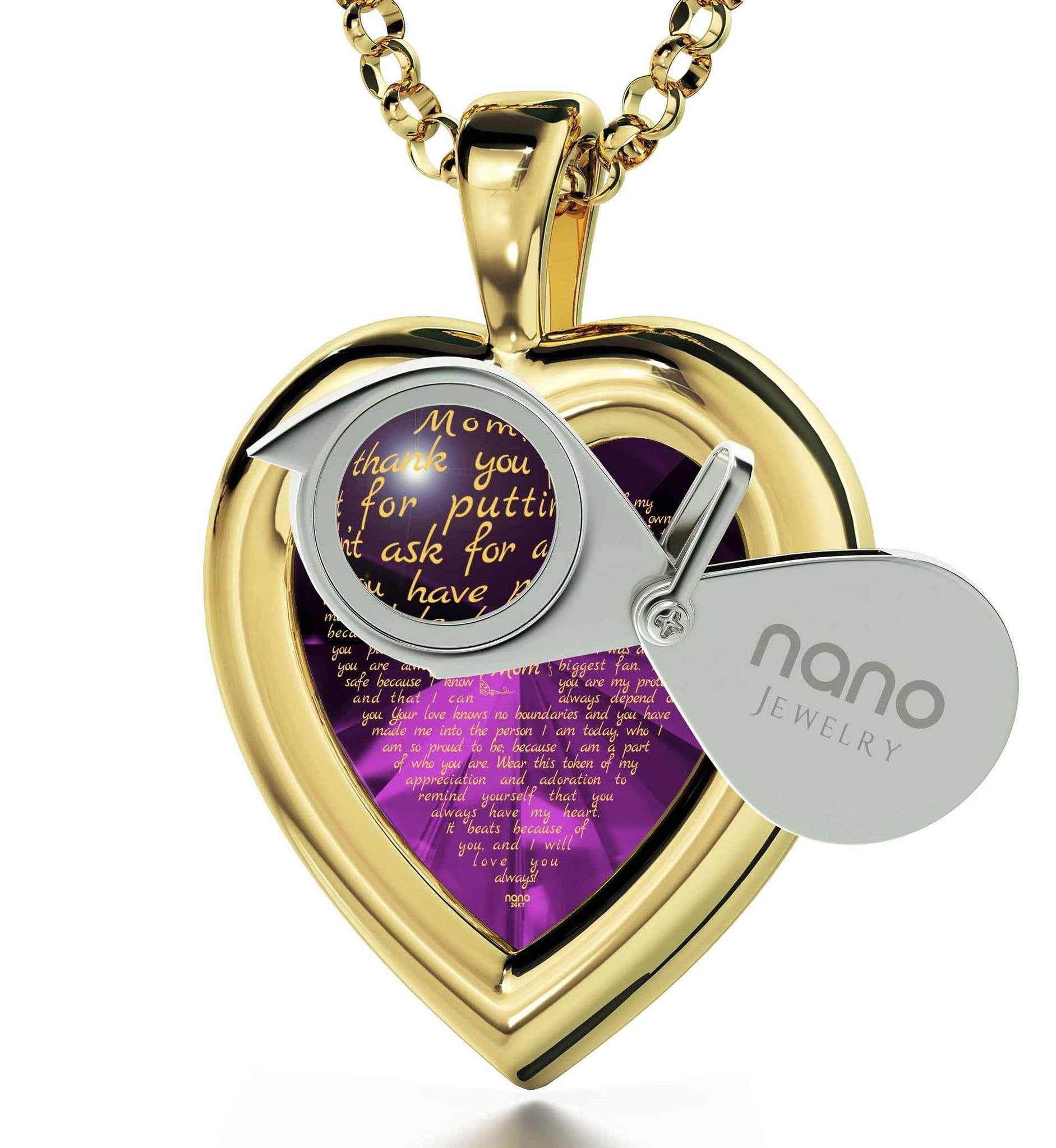 Good Presents for Mom: Real 14k Gold Necklace, CZ Purple Heart, Best Gift for Mother's Day by Nano Jewelry