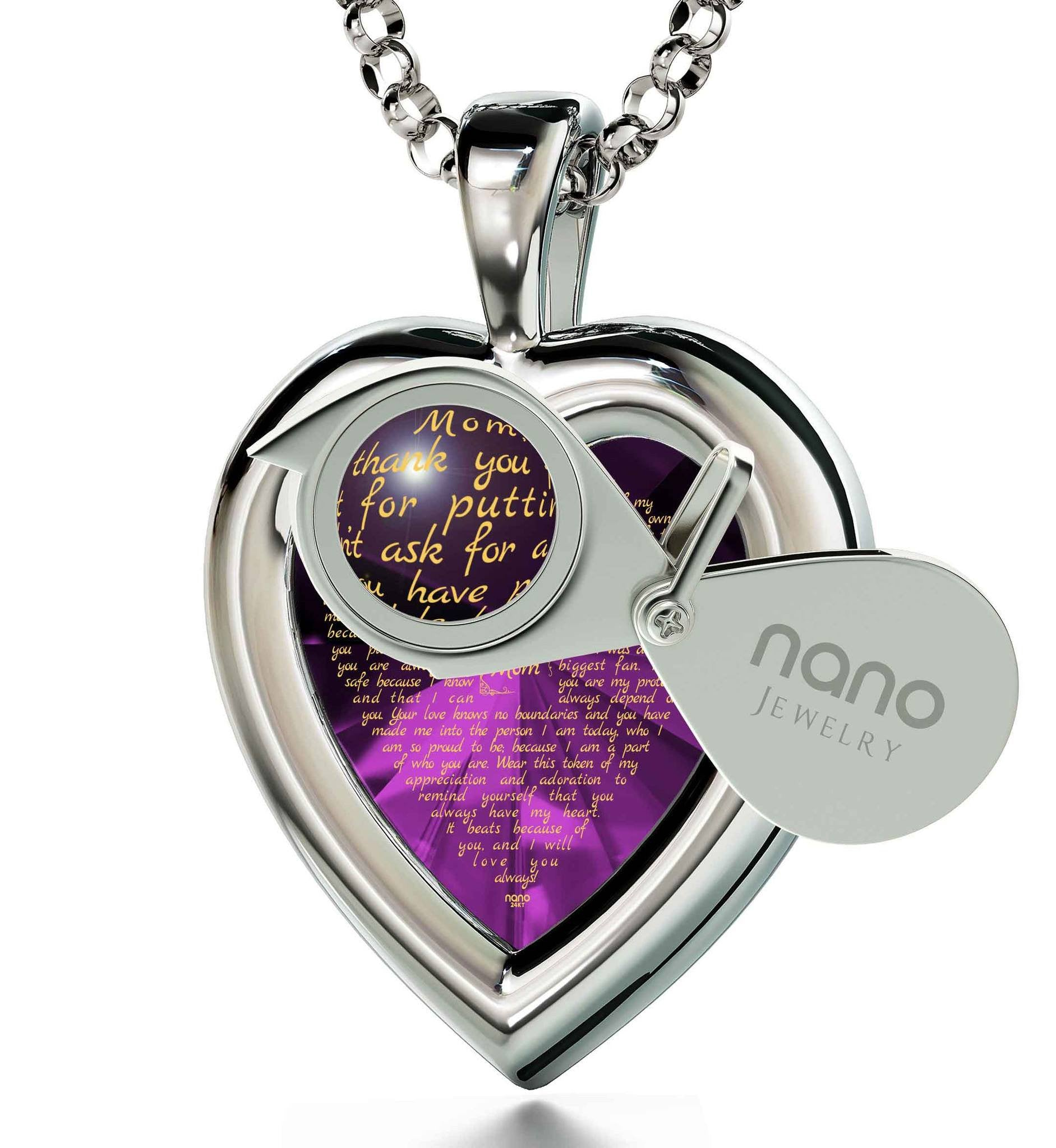 Good Presents for Mom: Real 14k White Gold Necklace, CZ Purple Heart, Best Gift for Mother's Day by Nano Jewelry