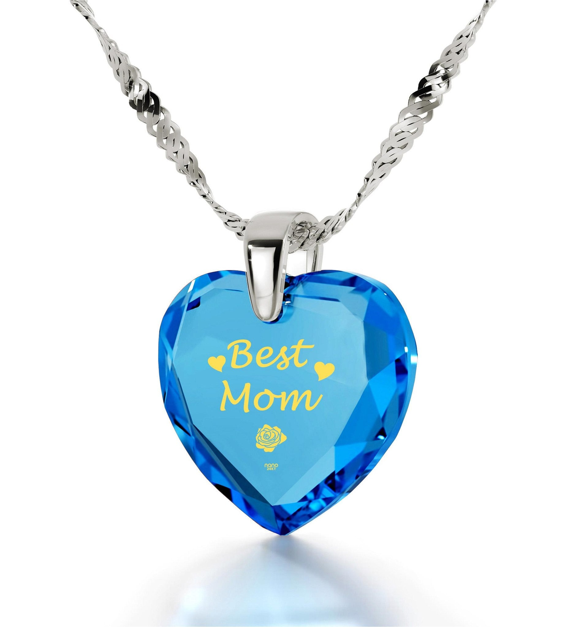 Good Presents for Mom,White Gold Chain with Pendant, Best Gift for Mother's Day, by Nano Jewelry