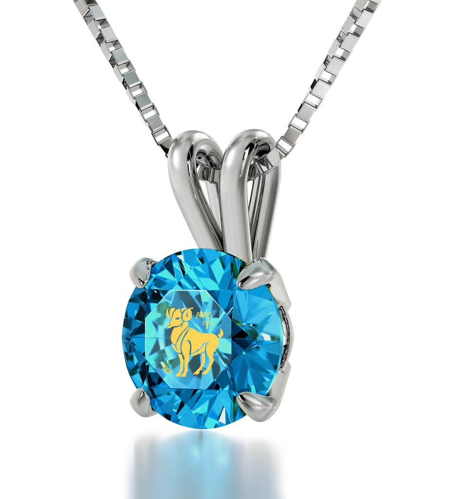 """GoodValentineGifts for Girlfriend: AriesNecklace, BlueStoneJewelry, ChristmasPresents for Wife"""