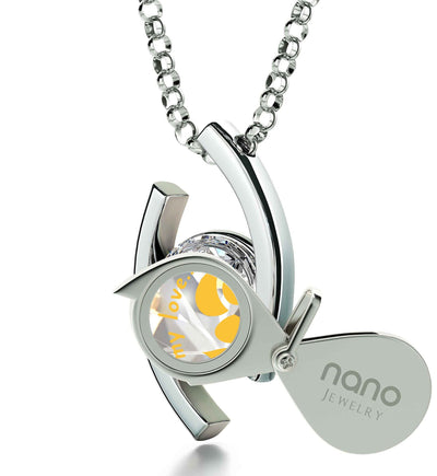 """What to Get Girlfriend for Birthday, Unique Necklace with White CZ Pendant,Valentine Gift for Wife, by Nano Jewelry"""