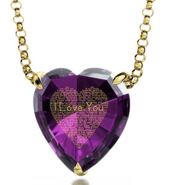 "What to Get Your Girlfriend for Valentines Day, ""I Love You"" in 120 Languages, CZ Purple Heart, Womens Xmas Gifts"