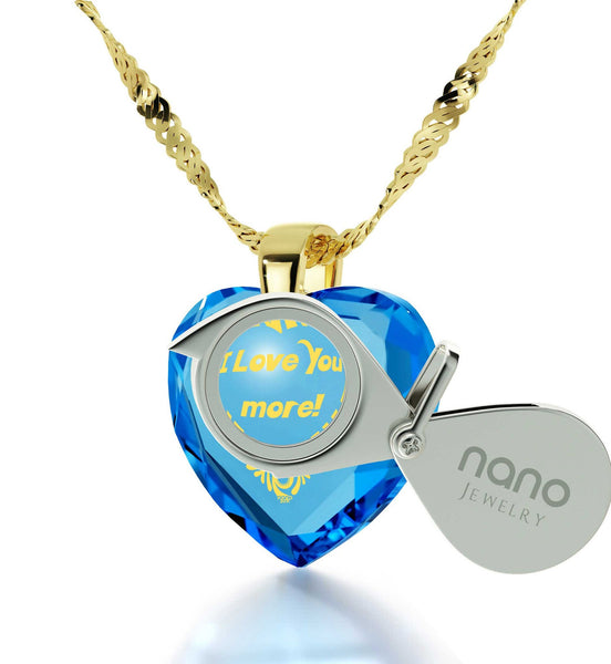 """Heart Necklaces for Girlfriend, Gold Filled Jewelry, 24k Engraved Pendant,Cool Xmas Presents, Nano"""