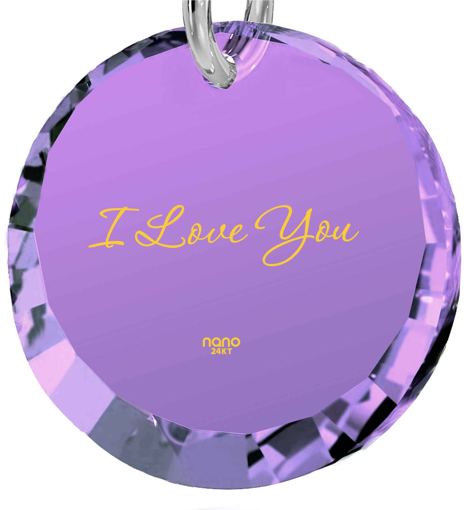 Good Valentine Gifts for Girlfriend, Purple Pendant, The Love Necklace, Womens Presents, Nano Jewelry