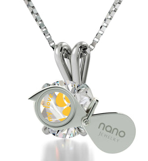 """Good Valentine Gifts for Girlfriend, Unique Sterling SIlver Necklace withCZ Charm, Xmas Ideas for Wife"""