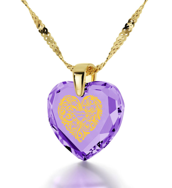 """Good Valentines Day Gifts for Girlfriend, Gold Filled Jewelry, 24k Engraved Pendant,Heart Necklaces for Women, Nano """