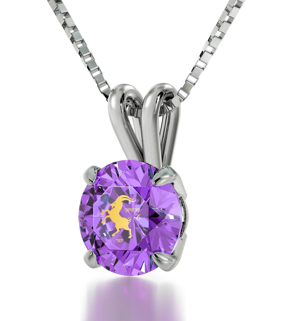 """Cool Presents for Christmas, Capricorn Necklace With Purple Pendant, Gifts for Women Friends, by Nano Jewelry """