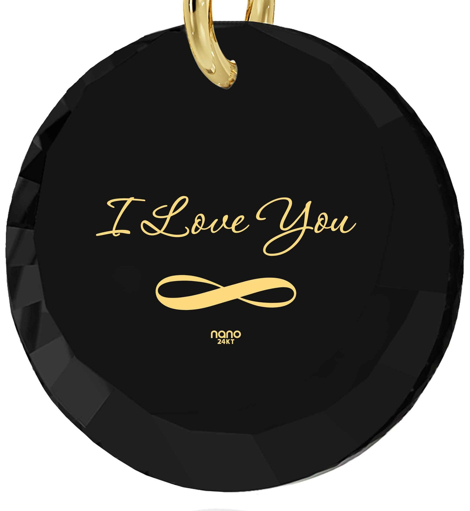 "What to Get Wife for Christmas,""I Love You Infinity"" 24k Imprint, I Love You Necklace for Girlfriend, Nano Jewelry"