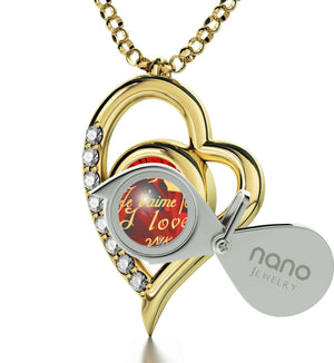 "Good Valentines Day Gifts for Girlfriend:""TeAmo"", Gold Pendant with Diamonds, Presents for Her Christmas"