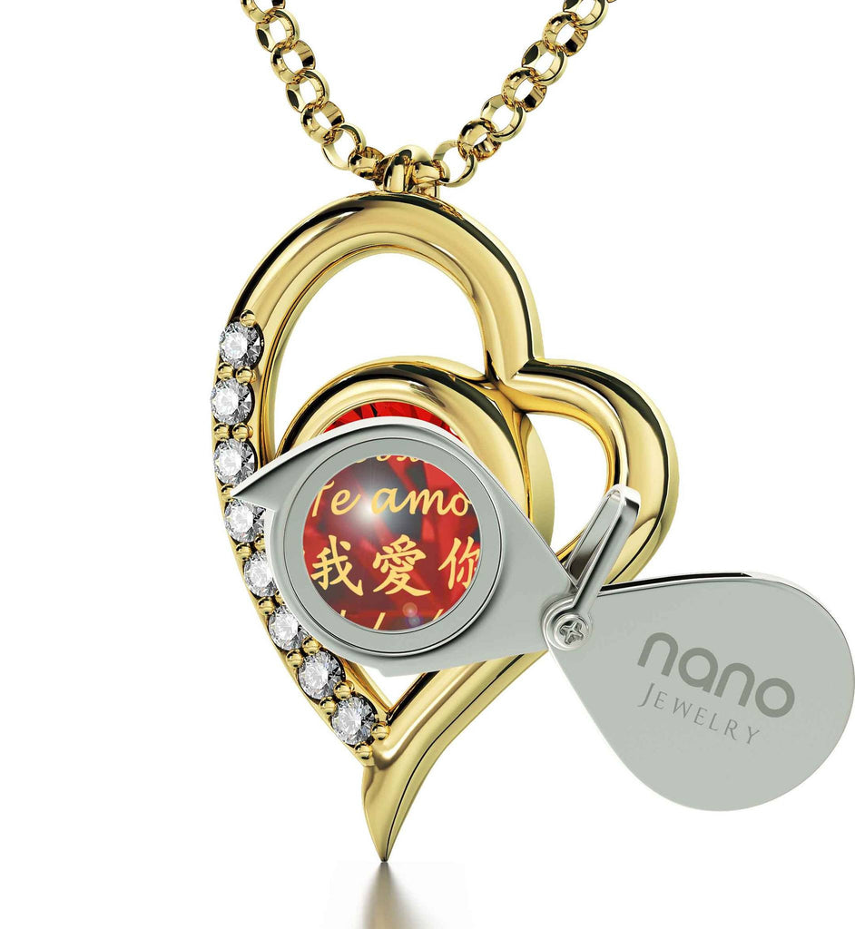 "What to Get Girlfriend for Birthday,""I Love You""in 12 Languages, Red Stone Jewelry, Good Anniversary Gifts for Her"