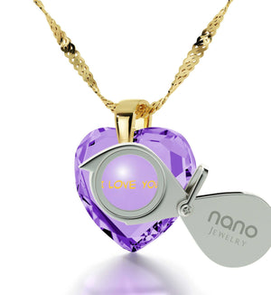 """Great Anniversary Gifts for Her, 14k Gold Pendants for Womens, CZ Purple Heart, Girlfriend Christmas Presents By Nano Jewelry"""