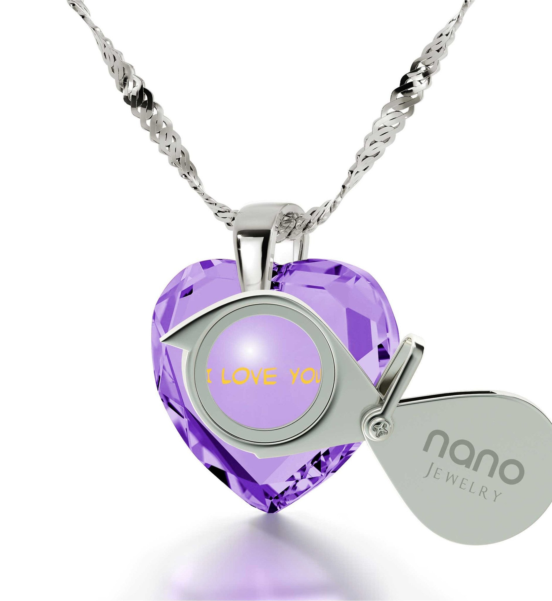 """Great Anniversary Gifts for Her, 14k White Gold Pendants for Womens, CZ Purple Heart, Girlfriend Christmas Presents By Nano Jewelry"""