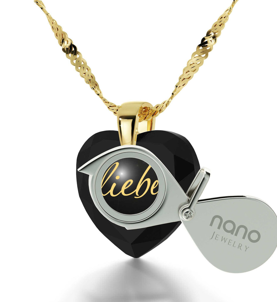 """30th Birthday Present Ideas for Her, 14k Gold Necklace with Pendant, ""I Love You"" in German, Gifts for Girlfriend Christmas"""