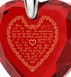 Great Christmas Gifts for Mom, Presents for Mothers, Red Heart Necklace, 24k Gold Engraved Pendant