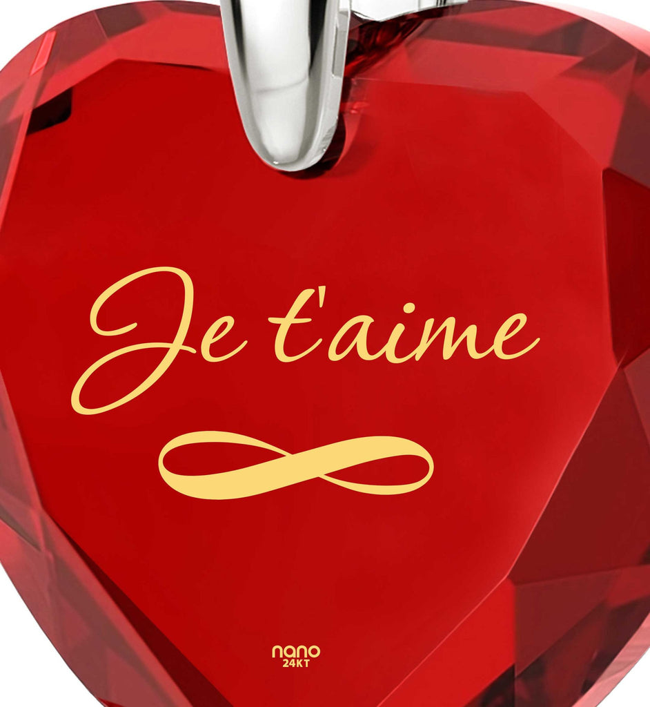 """How to Say ""I Love You"" in French? Valentine's Day Gift for Girlfriend, 24k Engraved Necklaces"""