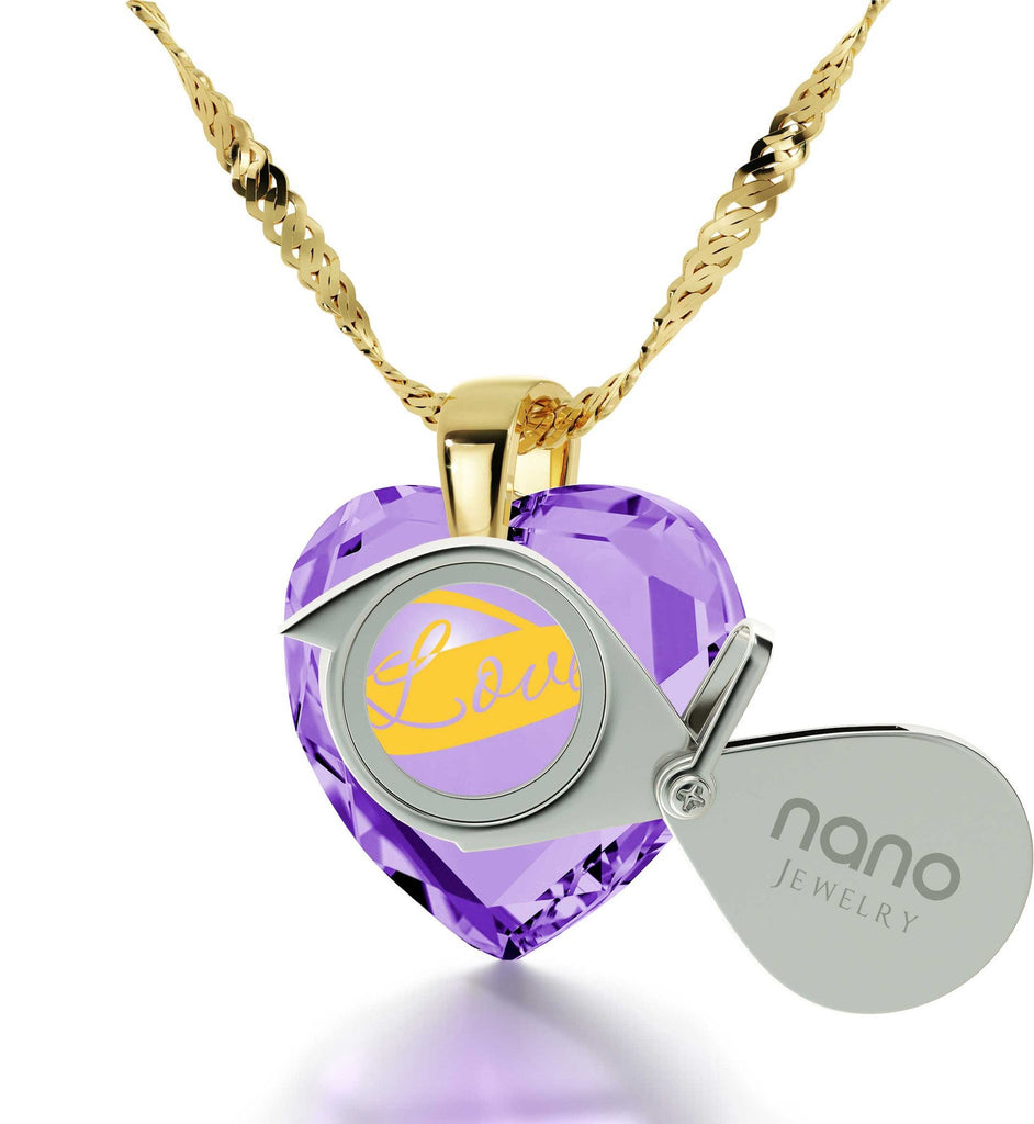 "Great Christmas Gifts for Girlfriend, Light Amethyst, ""I Love You Infinity"", Xmas Ideas for Wife, by Nano Jewelry"