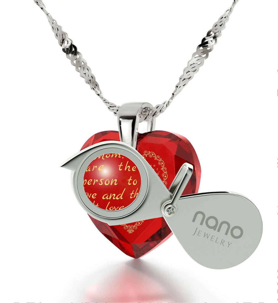 Great Christmas Gift for Mom, Presents for Mothers, Red Heart Necklace, 24k Gold Engraved Pendant, by Nano Jewelry