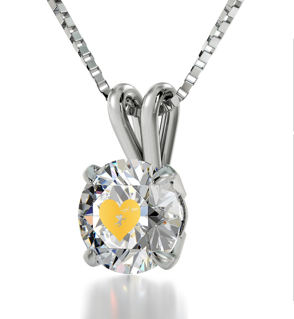 """Valentines Ideas for Wife, Unusual 14k White Gold Necklace withCZ Stone, Love Gifts for Girlfriend, by Nano Jewelry"""