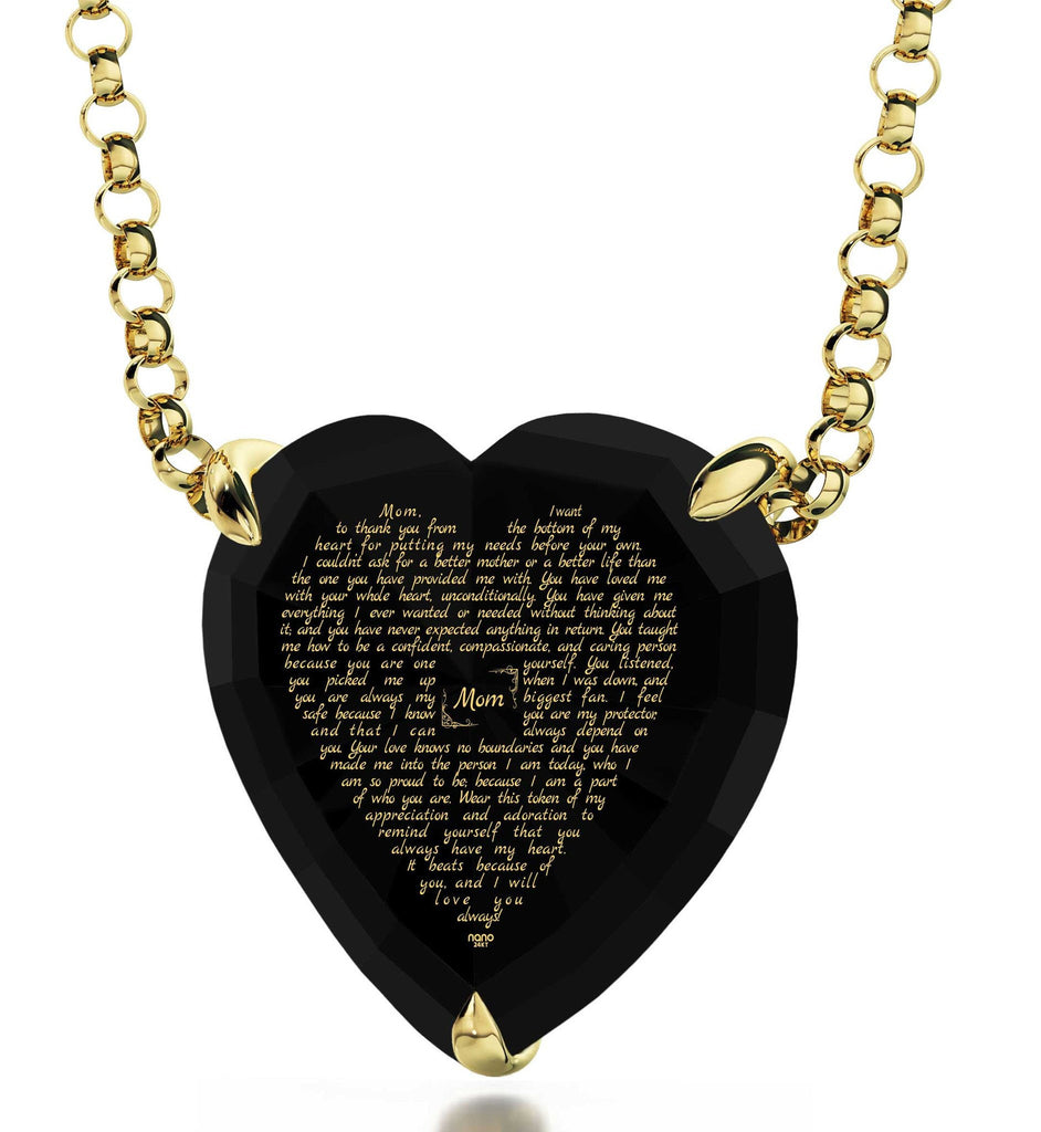 Great Christmas Presents for Mom, Engraved Necklaces, CZ Black Heart, Birthday Gift for Mother