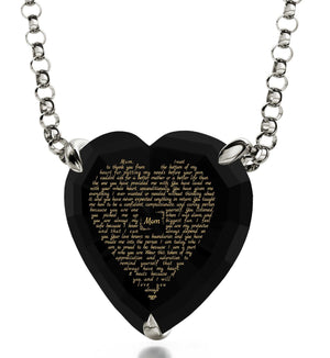 Christmas Presents for Mom, Engraved Necklaces, CZ Black Heart, Birthday Gift for Mother