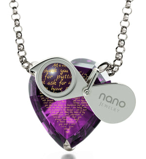 Great Christmas Presents for Mom, Engraved Necklaces, CZ Purple Heart, Birthday Gift for Mother