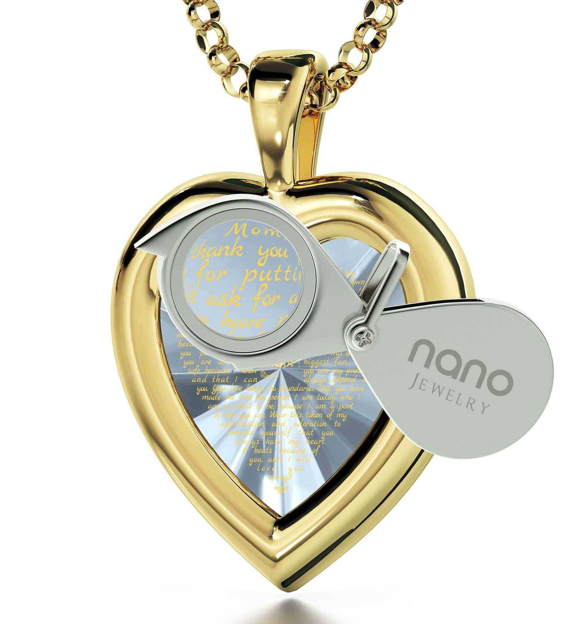 Great Christmas Presents for Mom: Real Gold Necklace, CZ White Heart, Best Gift for Mother's Day
