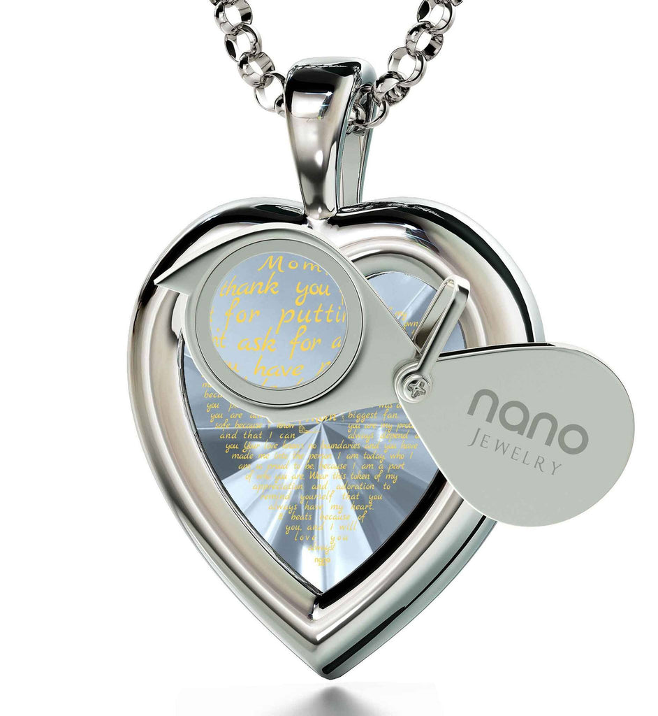 Great Christmas Presents for Mom: Real 14k White Gold Necklace, CZ White Heart, Best Gift for Mother's Day