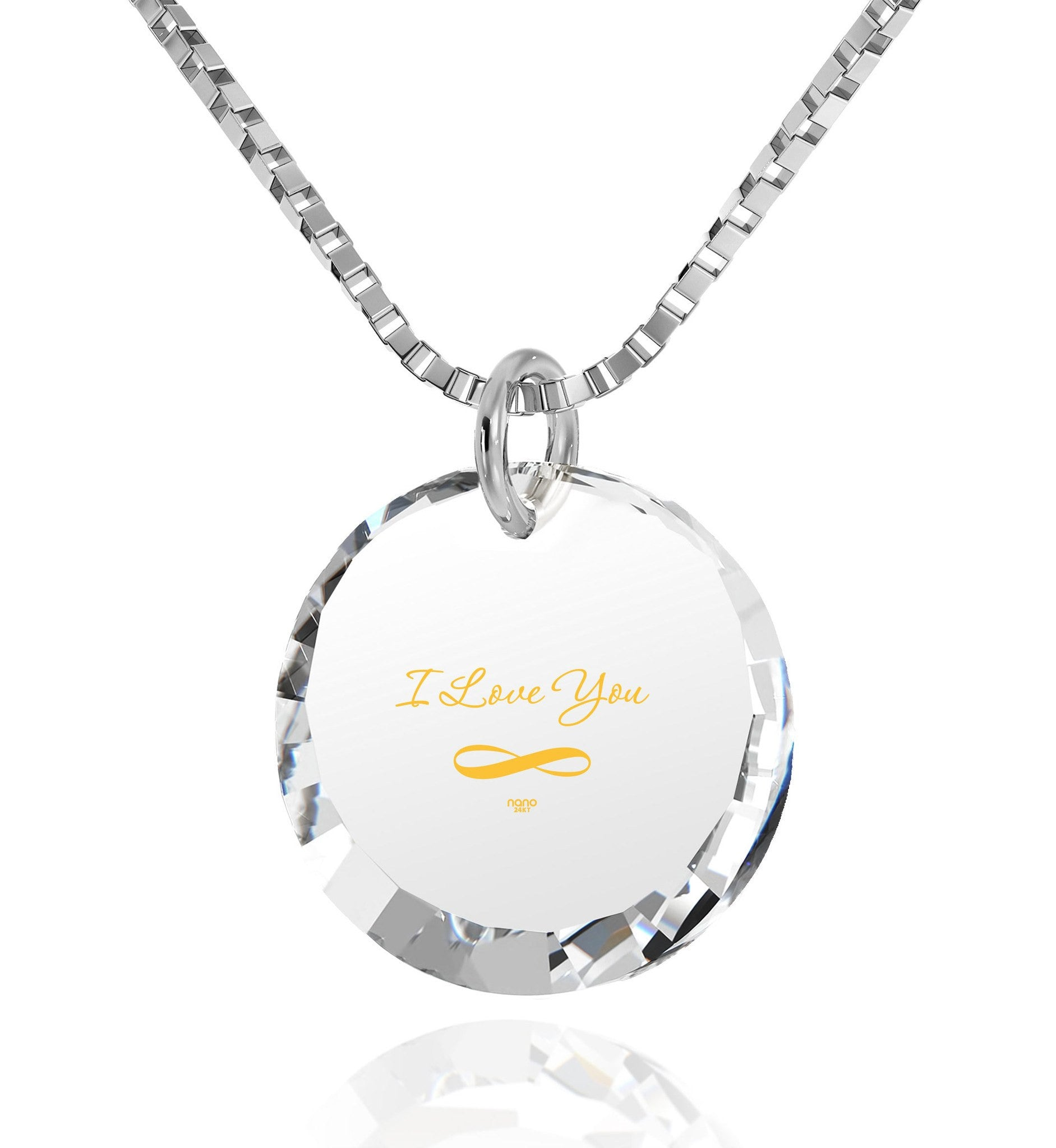 "Necklaces for Your Girlfriend, ""I Love You Infinity"" 24k Imprint, Pure Romance Products, Nano Jewelry"