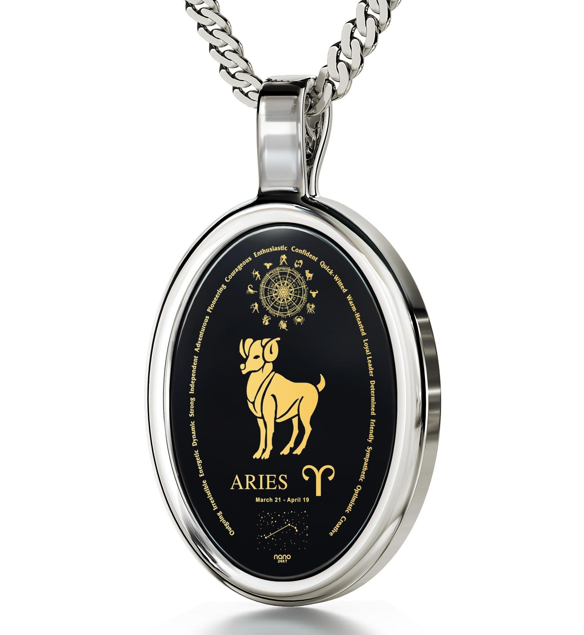 Great Valentine Gifts for Her: Zodiac Characteristics, Womens 14k White Gold Necklace, 25th Birthday Ideas for Her by Nano