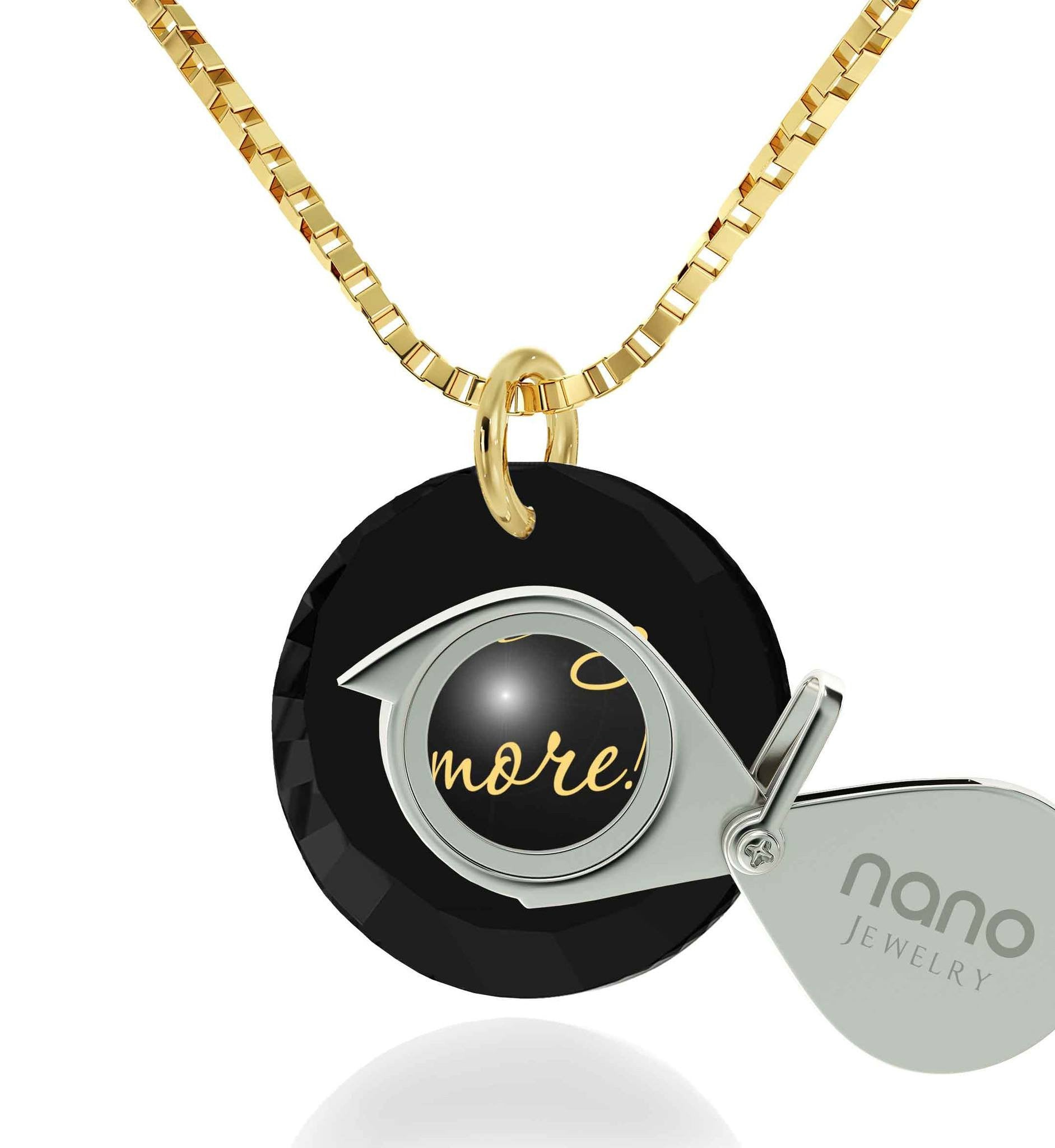"""Gift for Wife Birthday, 24k Imprint, ""I Love You More"" Jewelry, Pure Romance Products, Nano"""
