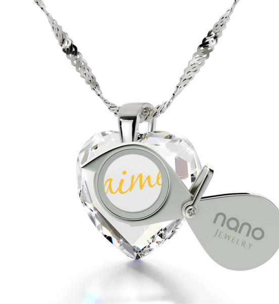 "Great Valentines Gifts for Her,""I Love You"" in French,CZ Jewelry, The Love Necklace, Nano"