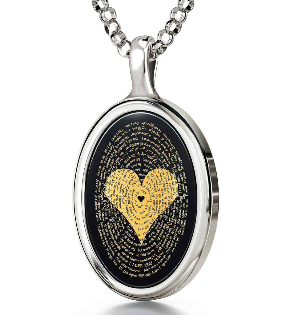 "Love Jewelry For Her: ""I Love You"" in All Languages - Oval - Nano Jewelry"
