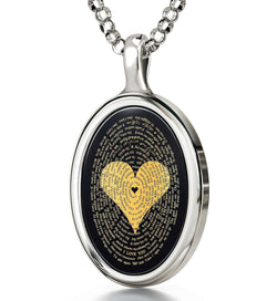 Great Valentine's Gifts for Her, Love in Other Languages, CZ Black Stone, Christmas Ideas for Girlfriend by Nano Jewelry