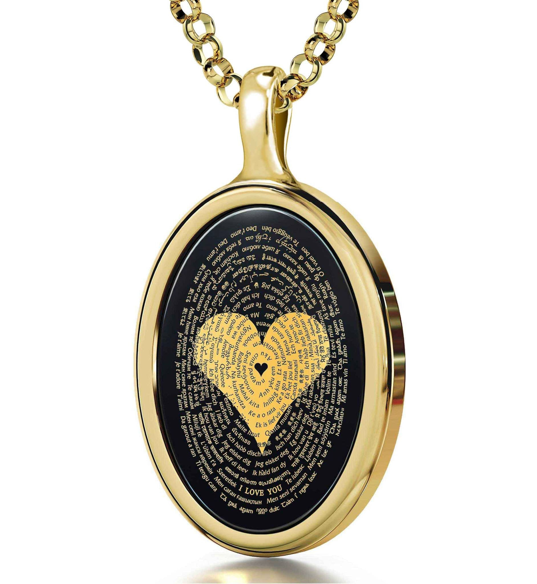 "$500 Gift Ideas for Her: ""I Love You"" in All Languages - Oval - 14K Gold - Nano Jewelry"