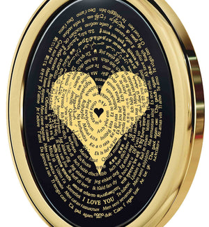 "Expensive Gifts for Her: ""I Love You"" in All Languages - Oval - 14K Gold - Nano Jewelry"