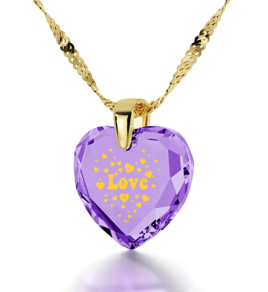 Great Valentines Gifts for Her, Purple Pendant, 24k Engraved Stone, Womens Birthday Presents, Nano Jewelry